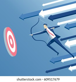 Businessman archer in jump shoots  at a target with arrow on background. Business concept the goal and success