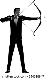 Businessman Archer-Corporate concept of an executive silhouette aiming at his target