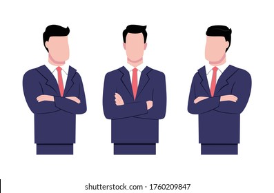 Businessman with arms crossed vector ilustration