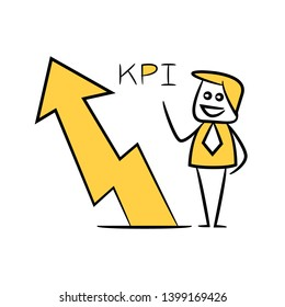 businessman and arrow chart for KPI concept yellow stick figure theme