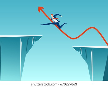 Businessman with arrow sign jump through the gap between hill. Running and jump over cliffs. Business risk and success concept. Cartoon Vector Illustration.
