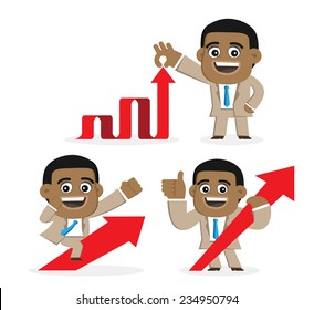 Businessman with up arrows