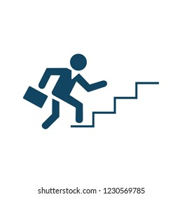 Businessman ascending by stairs steps icon