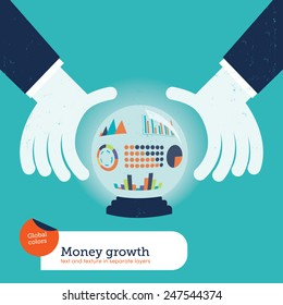 Businessman asking a crystal ball with charts. Vector illustration Eps10 file. Global colors. Text and Texture in separate layers.