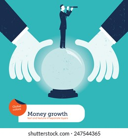 Businessman asking a crystal ball with a businessman and spyglass. Vector illustration Eps10 file. Global colors. Text and Texture in separate layers.