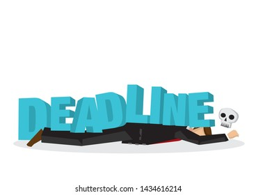 """Businessman attacks, fall and collapse by giant lettering """"deadline"""". Concept of project crisis, corporate sabotage or company misfortune. Flat vector isolated illustration."""