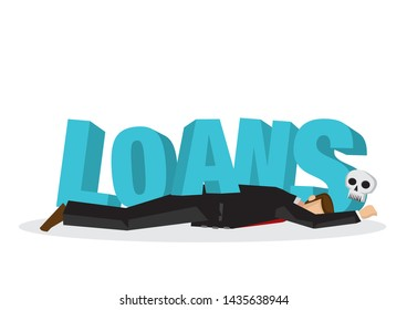 """Businessman attacks, fall and collapse by giant lettering """"Loans"""". Concept of crisis, corporate sabotage or company misfortune. Flat vector isolated illustration."""