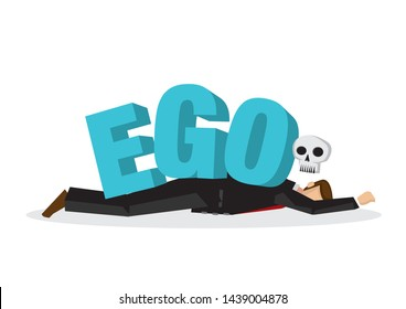 Businessman attacks, fall and collapse by giant lettering Ego. Concept of identity crisis, emotional sabotage self pride or mental misfortune. Flat vector isolated illustration.