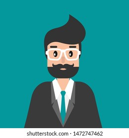 Businessman or attorney. flat vector illustration on blue background. Law consulting, juridical help online. Lawyer advice in internet. legal proceedings