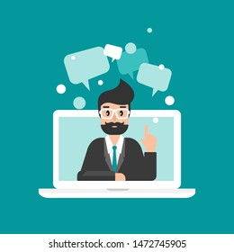 businessman or attorney on computer screen with speech bubbles. flat vector illustration on blue background. Law consulting, juridical help online. Lawyer advice in internet. legal proceedings