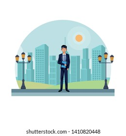 businessman avatar cartoon character wearing elegant suit in a cityscape with street lights and skyscrappers vector illustration graphic design