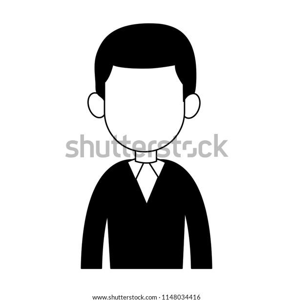 Businessman Avatar Cartoon Profile Black White Stock Vector Royalty Free 1148034416