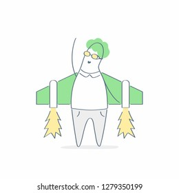 Businessman aviator with Jetpack on his back. New business launch, career boost, start up and growth, new beginnings, rocket up, new adventures concept. Cartoon doodle vector on white.
