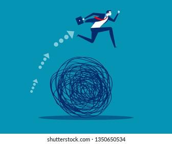 Businessman avoiding trouble. Concept business vector illustration, Mess, Doodle, Problem,