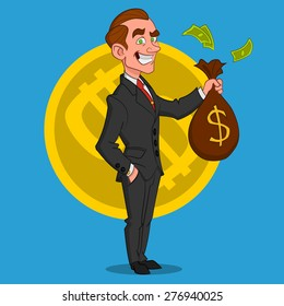businessman with a bag of money. Vector illustration.