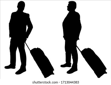 Businessman with baggage on wheels. Two male silhouettes in business suits stand in line, one after another. Black silhouette is isolated on a white background. Business trip. Vacation. Office workers