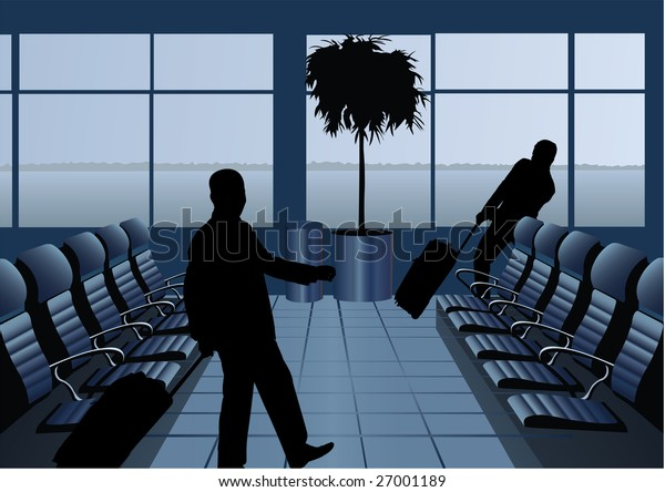 businessman with baggage silhouette in airport vector