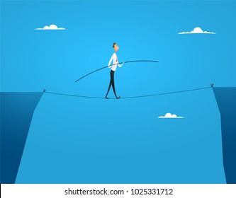 Businessman balances walking on the rope balancing over the abyss. The concept of financial risks, games on the stock exchange, problems of violation of the law