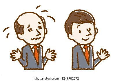 businessman with baldness problem