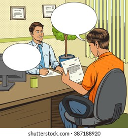 Businessman in bank office pop art retro style vector illustration. Comic book style imitation. Man talks with banker. Human illustration. Vintage retro style.
