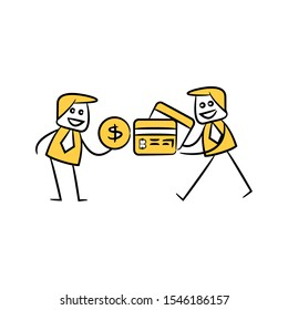 businessman barter dollar and bitcoin credit card cryptocurrency concept yellow doodle hand drawn