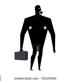 Businessman BDSM slave. Boss Leather bandage. Sexy games for adults. Subordination and domination. Gag sex toys. Vector illustration.