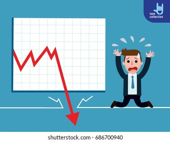 Businessman be sad on the floor as the stock market falls badly.