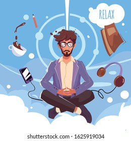 Businessman with the beard and glasses doing mindfulness meditation and relaxing on the cloudy sky background with different stuff, coffee, book, headphones, smartphone.