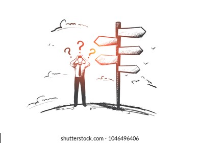 Businessman before choice concept. Hand drawn person had to make a decision. Man has to decide isolated vector illustration.