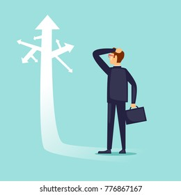 Businessman before choice. Flat design vector illustration.
