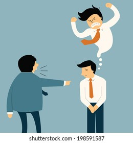 Businessman being complaint by his senior businesspeople, he appear smiley face but in his mind very angry. Funny cartoon illustration in feeling and emotion business concept.