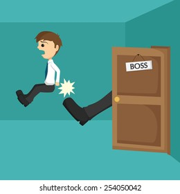 Businessman Being Kicked Out Of The Door By His Boss