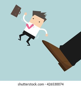 Businessman being kicked out, Layoff concept, removing employee, vector.