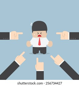 Businessman being pointed by a lot of hands, VECTOR, EPS10