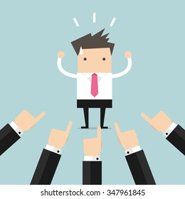 Businessman being pointed at by a lot of hands vector