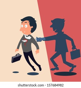 Businessman being stabbed in the back, conflict or criminal business concept. Vector illustration.