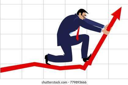 Businessman bending a graph upwards as a metaphor for a growth hacking, EPS 8 vector illustration