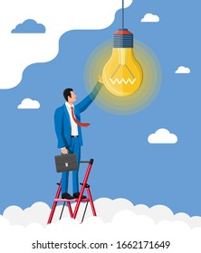 Businessman with biefcase on ladder creates new idea. Concept of creative idea or inspiration, business start up. Glass bulb with spiral in flat style. Vector illustration