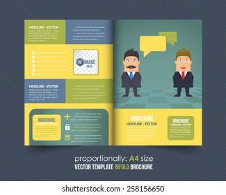 Businessman Bi-Fold Design. Corporate Leaflet, Cover Template Business Brochure