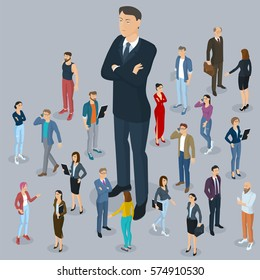 Businessman big boss leader office abstract with a background of isometric 3d flat design vector people different characters, styles and professions, full length diverse acting poses collection.