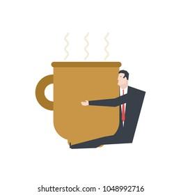 Businessman in big coffee mug. Boss hug coffee. office life vector illustration.