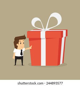businessman and a big gift box .vector