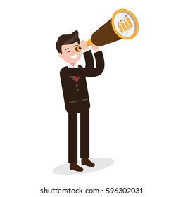 businessman with binocular , telescope , growing graph. man looking for opportunities. business design concept. vector illustration.