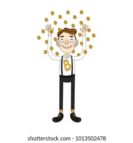 Businessman and bitcoin. Cryptocurrency concept cartoon vector illustration