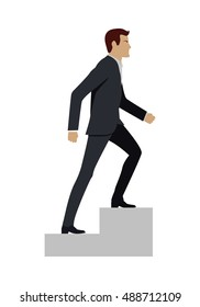 Businessman in black business suit walking up stairs. Business strategy, growth, leadership, walking to success concept. Man personage in side. Isolated vector illustration on white background