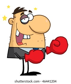 Businessman with Black Eye Wears Boxing Gloves