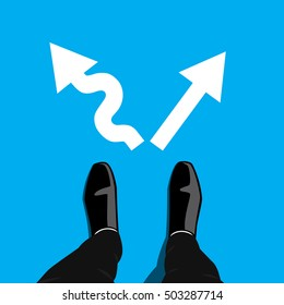 Businessman in black shoes standing at the crossroad and has to make decision which way to go for his success - hard way or easy way. Vector graphic design.