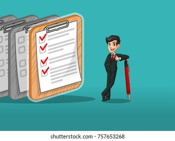Businessman in black suit leaning a pen with completed checklists on paper, against tosca background.