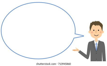 Businessman with blank text bubble,Balloon