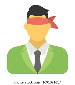 A businessman blindfolded flat icon design